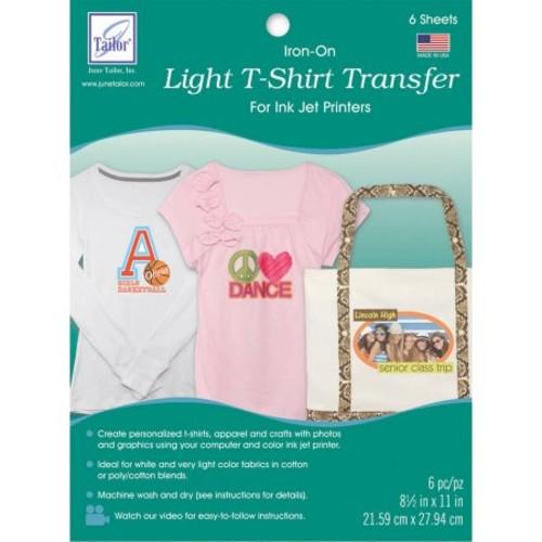 Light T-Shirt Iron-On Ink Jet Transfer Sheets, 8.5