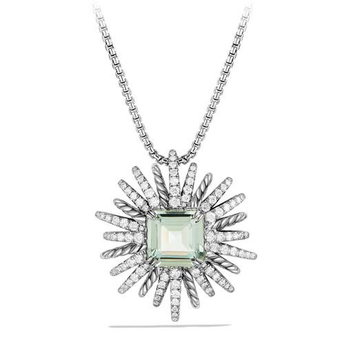 30mm Starburst Diamond & Prasiolite Pendant Necklace