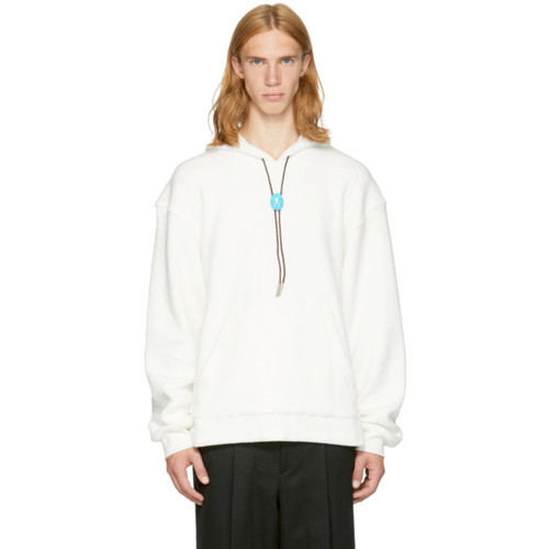 ALEXANDER WANG Off-White Fleece 'Classic Black' Bolo Tie Hoodie