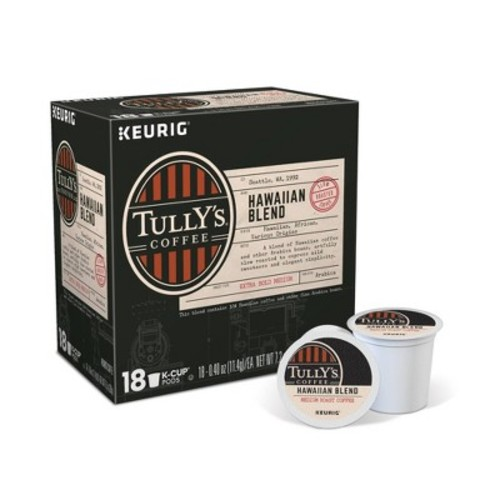 Tully's Hawaiian Blend Extra Bold Medium Roast Coffee - K-Cup Pods - 18ct