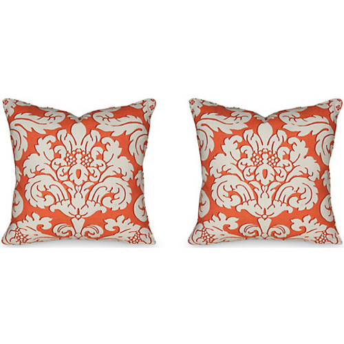 S/2 Trelawny 19.5x19.5 Pillows, Coral