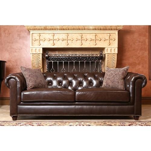 Abbyson Carmela Dark Brown Top Grain Leather Chesterfield Sofa