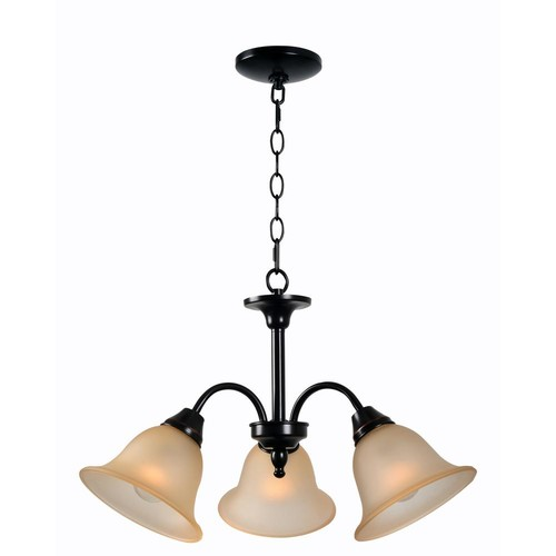Kenroy Home Flowers 3-Light Bronze Chandelier with Amber Glass Shade