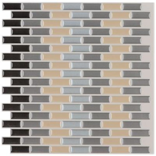 Instant Mosaic 3 in. x 6 in. Peel and Stick Mosaic Decorative Wall Tile Sample in Earth Tones