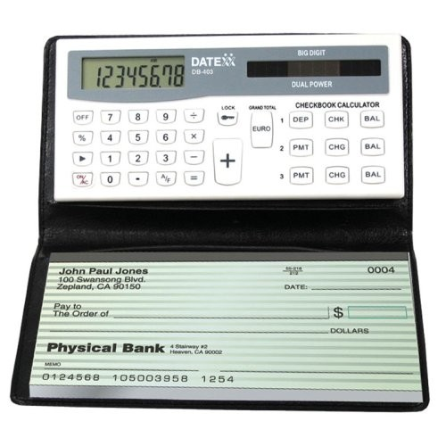 Datexx DB-403 3-Memory Checkbook Calculator [White]