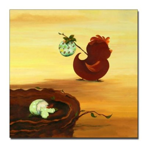 Trademark Fine Art Leaving the Nest by Sylvia Masek-Ready to Hang Canvas 14x14 Inches