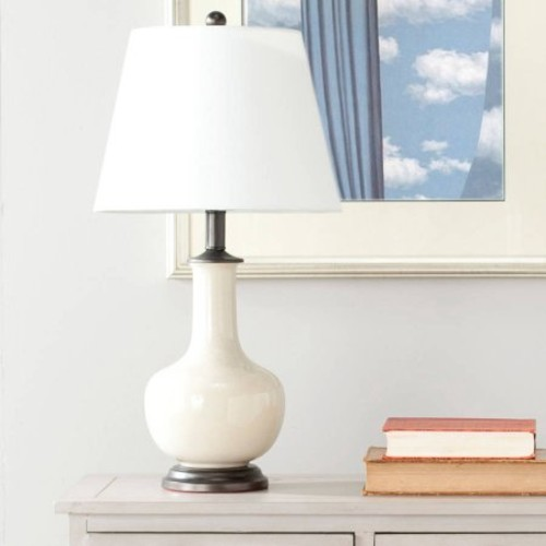 Safavieh Danielle Table Lamp with CFL Bulb, Cream with Off-White Shade, Set of 2