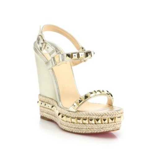 CHRISTIAN LOUBOUTIN Cataclou Studded Metallic Leather Espadrille Wedge Sandals