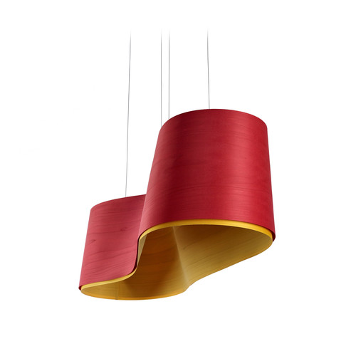 Wave Suspension Light [Model : Fluorescent\/E26 Base\/Yellow\/Red]