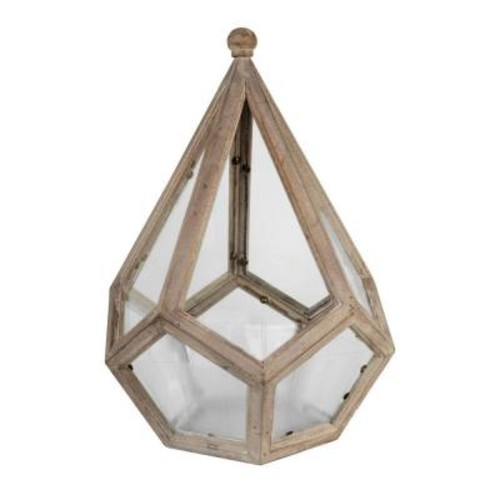Arcadia Garden Products Delaney 12 in. x 18 in. Glass and Wood Table Top Terrarium