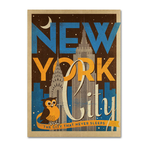 Anderson Design Group 'New York Night' Canvas Art [option : 14x19 Wrapped Canvas Art]