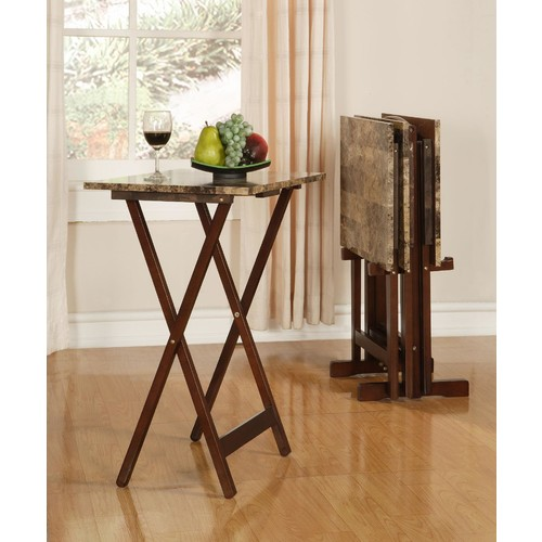 Linon Tray Table Set Faux Marble - Brown
