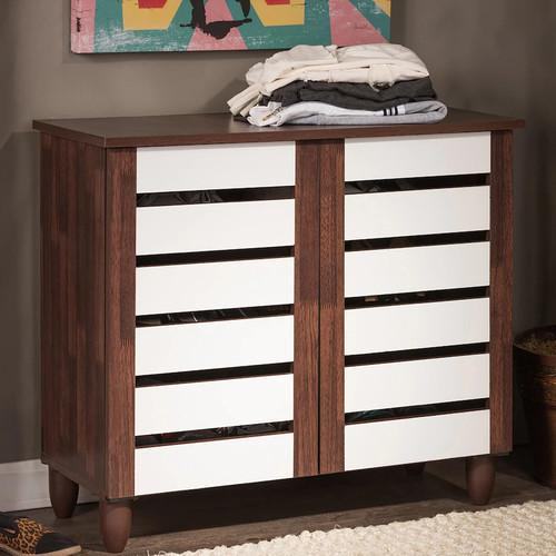Baxton Studio Gisela Two-Tone Shoe Cabinet