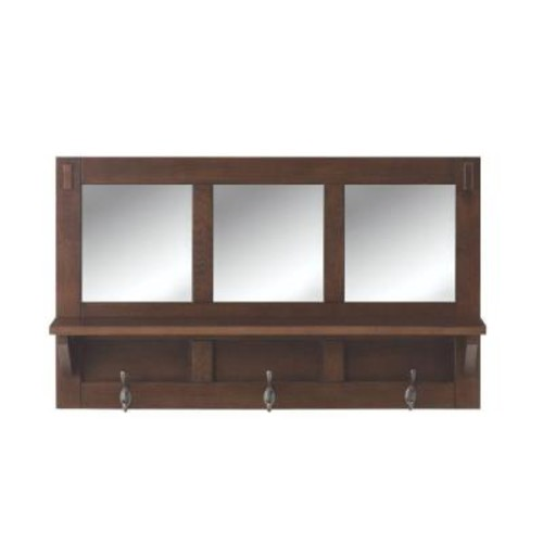 Home Decorators Collection Artisan 18 in. H 3-Hook MDF Wall Shelf with Mirror in Medium Oak