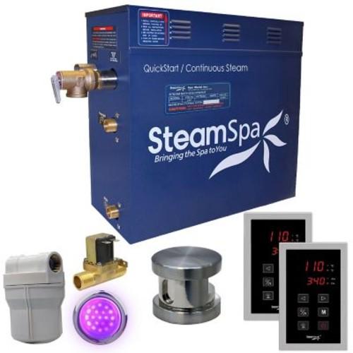 Steam Spa Royal 9 kW QuickStart Steam Bath Generator Package w/ Built-in Auto Drain; Brushed Nickel