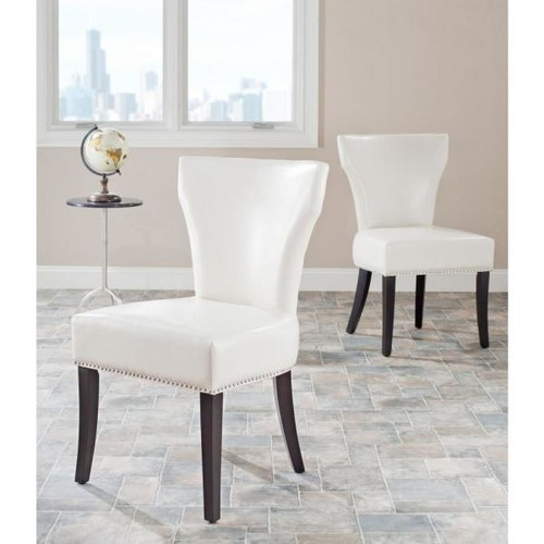 Safavieh Jappic Flat Cream Bicast Leather Side Chair (Set of 2)