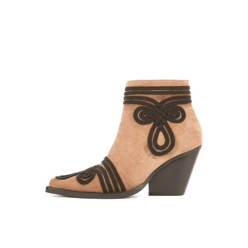 Jeffrey Campbell for Women: Gatlin-EMB Taupe Suede Heeled Booties