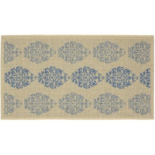 Safavieh Courtyard Natural/Blue 2 ft. x 4 ft. Indoor/Outdoor Area Rug