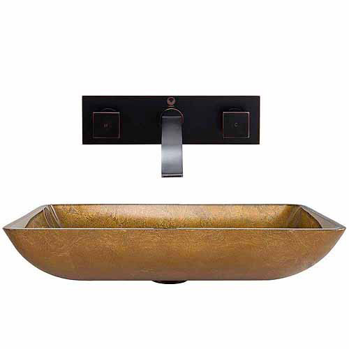 VIGO Rectangular Copper Glass Vessel Sink and Titus Wall Mount Faucet Set in Antique Rubbed Bronze