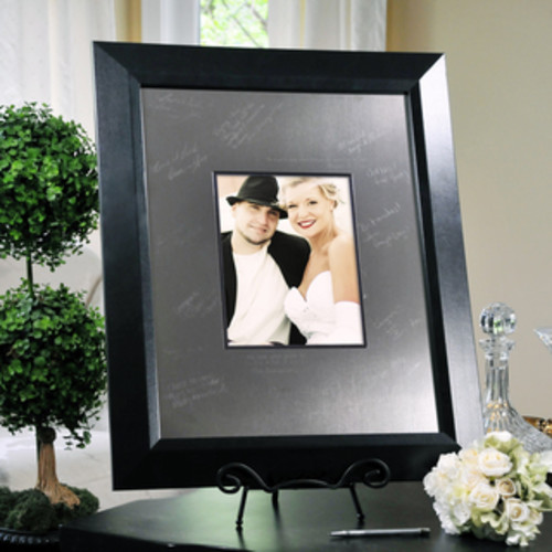 Adeco Decorative Black Wood Curved Wall Hanging or Table Top 8 x 10-inch Bevel Photo Frame
