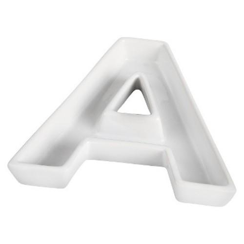 White Ceramic Letter Dish - P