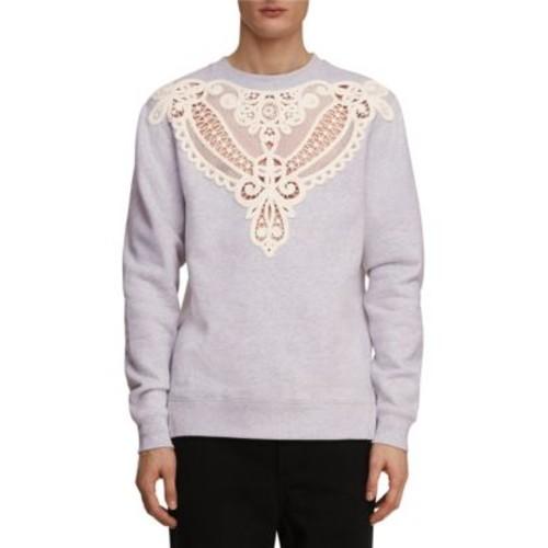 BURBERRY Brushed-Back Lace Cutout Jersey Sweatshirt