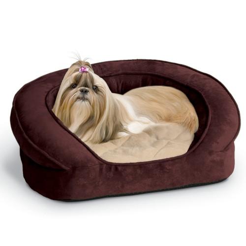 K&H Pet Products Deluxe Ortho Bolster Sleeper Orthopedic Pet Bed [Eggplant Paw Print, Standard Packaging, Medium]
