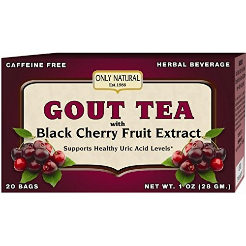 Only Natural Gout Tea Black Cherry Fruit Extract Bags, 20 Count [One Color, One Size]