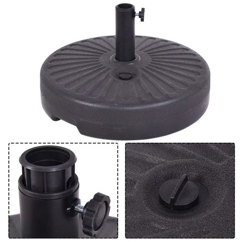 Costway 20'' Round 23L Water Filled Umbrella Base Stand Self-filled Patio Furniture Black