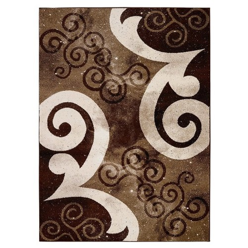 City Collection Contemporary Sculpted Effect Abstract Chocolate/Beige/Cream Polypropylene Area Rug (5'3 x 7'3) [option : Brown Beige Swirl]