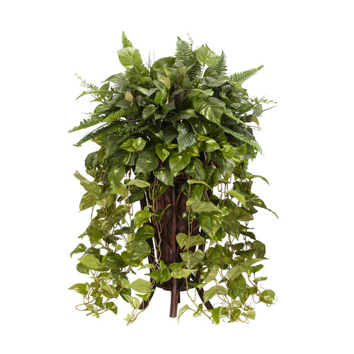 Nearly Natural Vining Mixed Greens With Decorative Stand Silk Plant Green