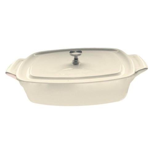 La Cuisine 7 in. Mini Rectangular Cast Iron Casserole Dish in Cream