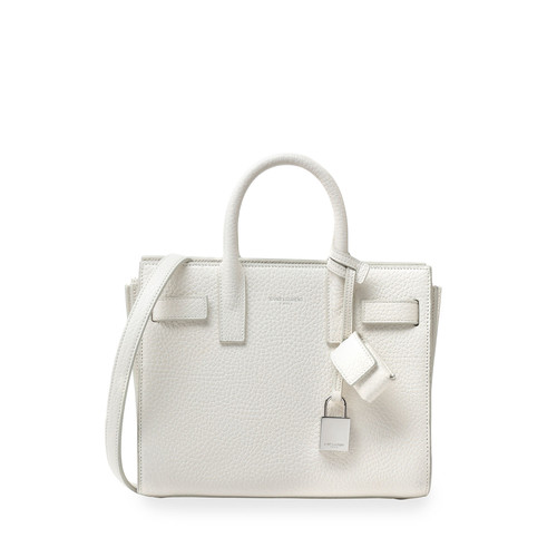SAINT LAURENT Sac De Jour Mini Grain Leather Tote Bag, White