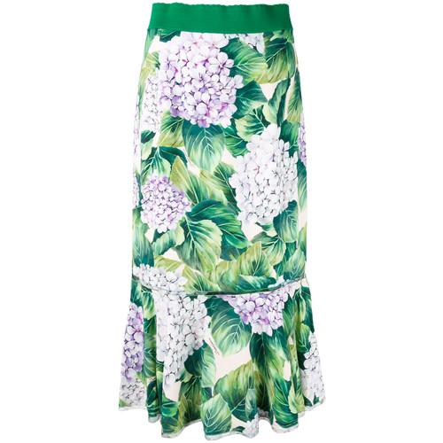 DOLCE & GABBANA Hydrangea Print Midi Skirt