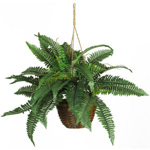 Nearly Natural Boston Fern Silk Hanging Basket