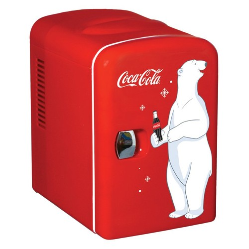 Coca Cola KWC-4 6-Can Personal Mini 12-V Car and120-V Home Fridge 59586509865 [Red, None]