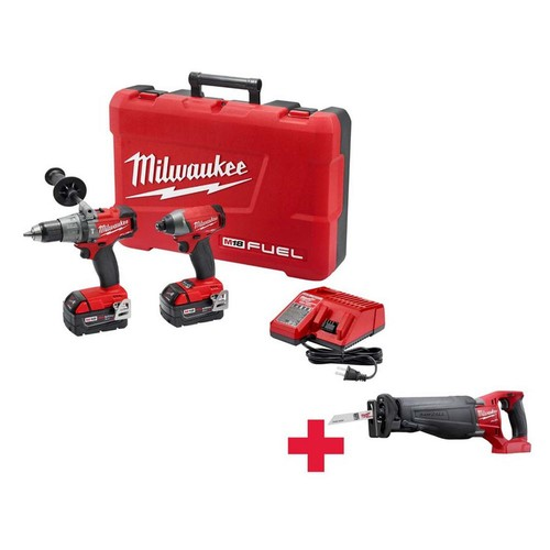 Milwaukee M18 FUEL 18-Volt Lithium-Ion Cordless Brushless Hammer Drill/Impact Driver Combo Kit with Free FUEL Sawzall