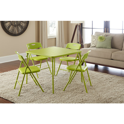 Cosco Home and Office Products 5 Piece Apple Green Folding Table and Chair Set
