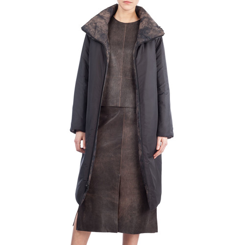AKRIS Martina Reversible Quilted Coat, Sepia