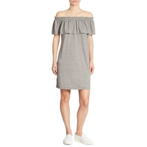 Solid Off-The-Shoulder Ruffled Dress