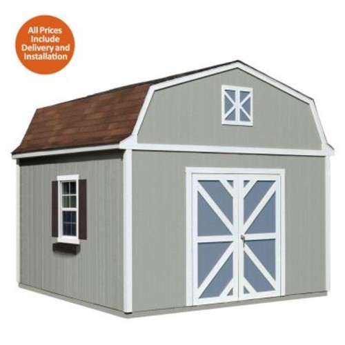 Handy Home Products Installed Sequoia 12 ft. x 12 ft. Wood Storage Shed with Autumn Brown Shingles