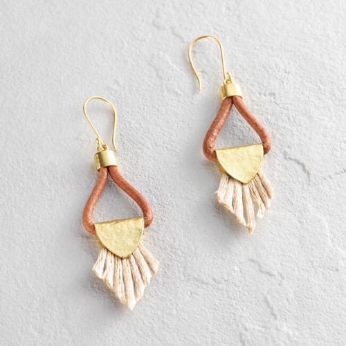 Gold and Blush Leather Loop Tassel Earrings