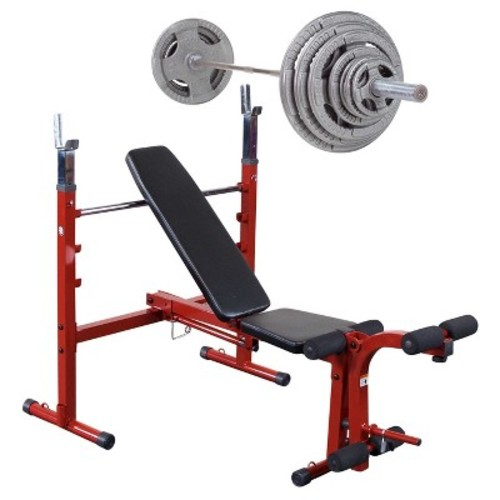 Best Fitness Weight Bench with 300LB Olympic Grip Handle Weight Set - (BFOB10 - OST300S)