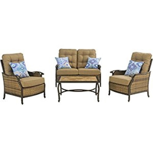 Hanover Hudson Square 4-Piece Outdoor Deep-Seating Lounge Set, Multi [Multi, 1]