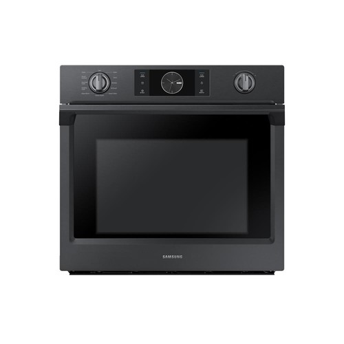 Samsung 30 in. Single Electric Wall Oven, Self-Cleaning with Steam Cooking and Dual Convection in Black Stainless