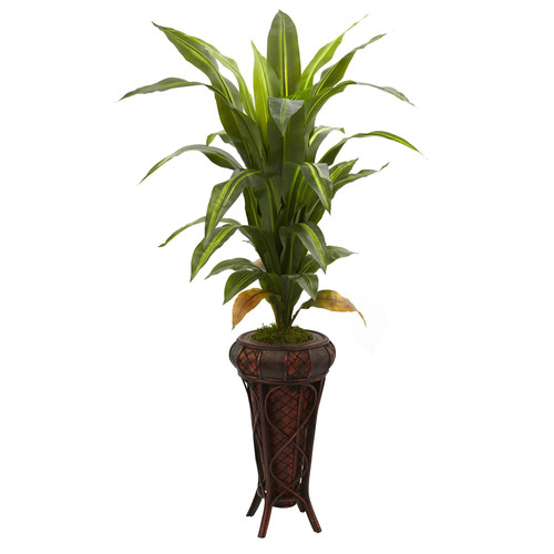 Nearly Natural 57-Inch Dracaena w/Stand Silk Plant (Real Touch)