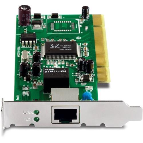 TRENDnet 32-bit 10/100/1000 Mbps Gigabit Low Profile PCI Adapter, Up to 2000Mbps Speed in Full-Duplex, Built-in FIFO (8K/64K) Buffers, TEG-PCITXRL