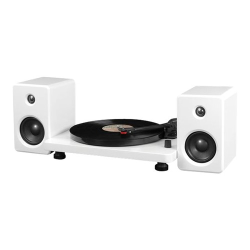Victrola ITUT-420 White Modern Record Player with Bluetooth, 50 watt Speakers and 3 Speed Turntable, White