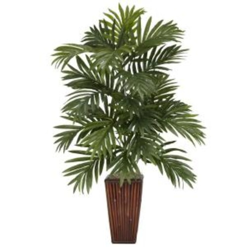 Nearly Natural 32 in. H Green Areca Palm with Bamboo Vase Silk Plant