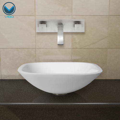 VIGO Square Shaped White Phoenix Stone Glass Vessel Sink with Brushed Nickel Wall Mount Faucet